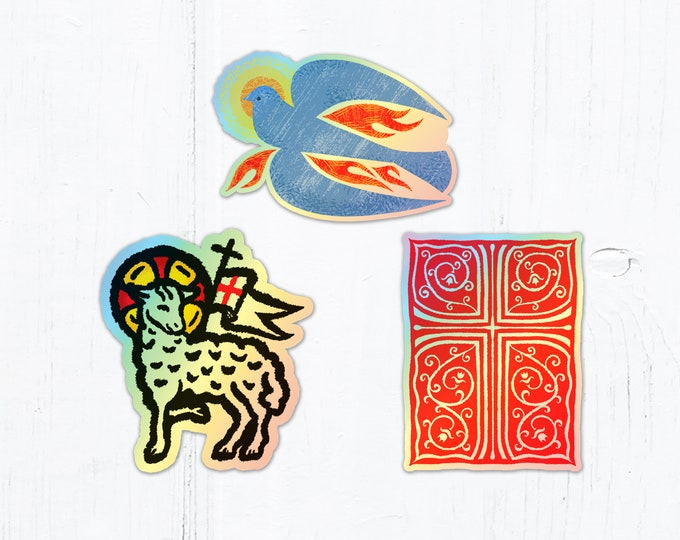 """Paschal Lamb, Holy Spirit Dove or Red Cross with Vines Die Cut Vinyl Sticker Holographic Sticker 3"""" Tall Peel & Stick Catholic Stickers"""