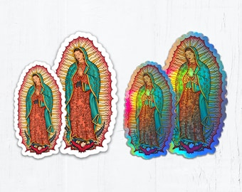 """Our Lady of Guadalupe Die Cut Vinyl Sticker White or Holographic Sticker 3"""" OR 4"""" Tall Peel & Stick Holographic Catholic Sticker"""