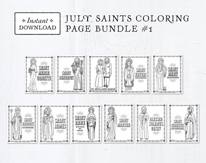 Catholic Coloring Pages - July Saints Set #1 - Bundle of 11 - Catholic Saints - Printable Coloring Pages - Digital - PDF