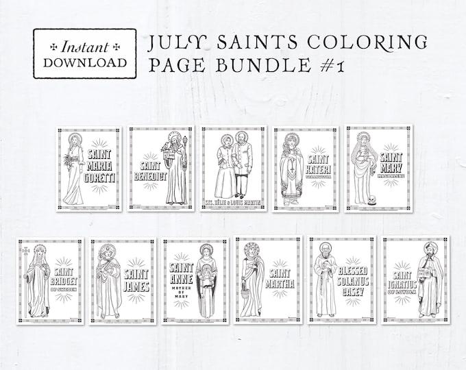 Catholic Coloring Pages - July Saints Set #1 - Bundle of 11 - Catholic Saints - Printable Coloring Pages - Digital - PDF