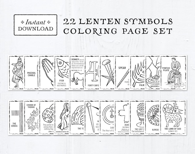 Catholic Coloring Pages - Lenten Symbols - Bundle of 22 - Lent Activity for Kids - Printable Coloring Pages - Digital - PDF