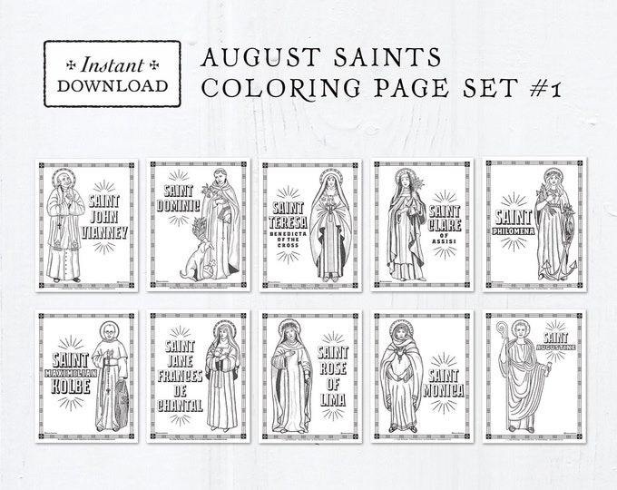 Catholic Coloring Pages - August Saints Set #1 - Bundle of 10 - Catholic Saints - Printable Coloring Pages - Digital - PDF