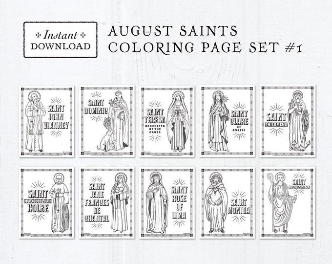 Catholic Coloring Pages - August Saints Set #1 - Bundle of 10 - Catholic Saints - Printable Coloring Pages - Digital - PDF