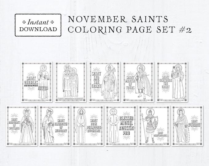 Catholic Coloring Pages - November Saints Set #2 - Bundle of 11 - Catholic Saints - Printable Coloring Pages - Digital - PDF Download