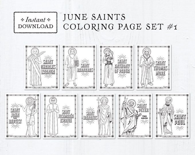 Catholic Coloring Pages - June Saints Set #1 - Bundle of 9 - Catholic Saints - Printable Coloring Pages - Digital - PDF Download