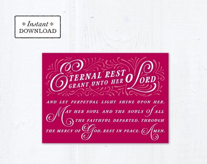 "Eternal Rest Grant HER Catholic Sympathy Card Dark Rose Pink 5x7 Instant Download - DIY Downloadable PDF 5"" x 7"" A7 Catholic Greeting Card"