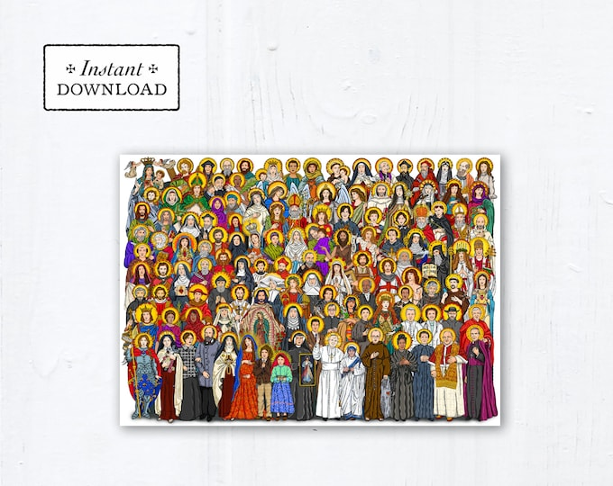 "All Saints Card OR Art Print - Instant Download - DIY Downloadable PDF 5""x7"""