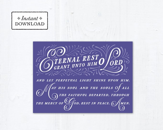 "Eternal Rest Grant HIM Catholic Sympathy Card Purple 5x7 Instant Download - DIY Downloadable PDF 5"" x 7"" A7 Catholic Greeting Card"