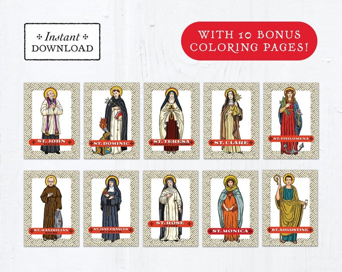 Catholic Saint Trading Cards August Set #1 - Printable - PLUS Bonus Coloring Pages! DIY Downloadable PDF - 8.5x11 - 10 Total Saint Cards