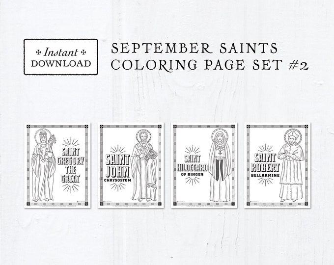 Catholic Coloring Pages - September Saints Set #2 - Bundle of 4 - Catholic Saints - Printable Coloring Pages - Digital - PDF Download