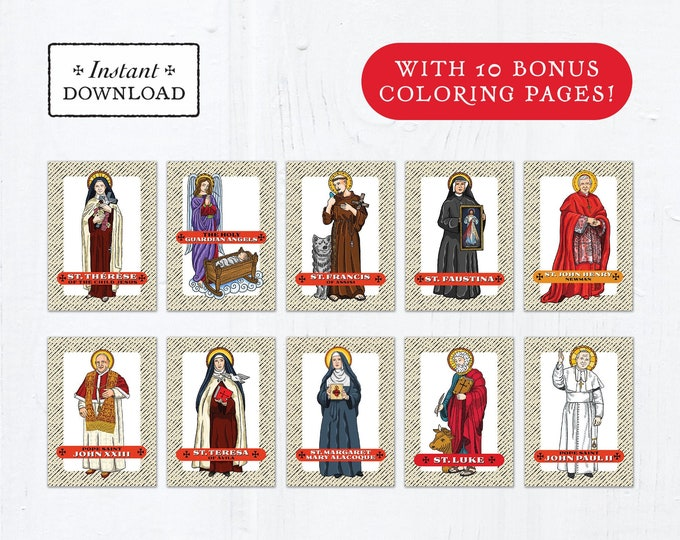 Catholic Saint Trading Cards October Set #1 - Printable - PLUS Bonus Coloring Pages! DIY Downloadable PDF - 8.5x11 - 10 Total Saint Cards