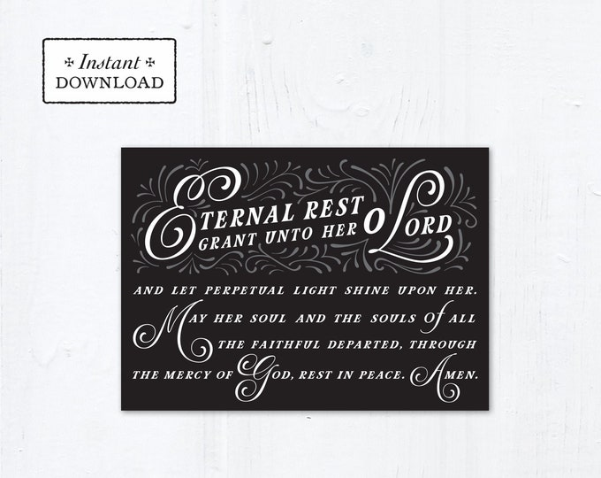 "Eternal Rest Grant HER Catholic Sympathy Card Black 5x7 Instant Download - DIY Downloadable PDF 5"" x 7"" A7 Catholic Greeting Card"