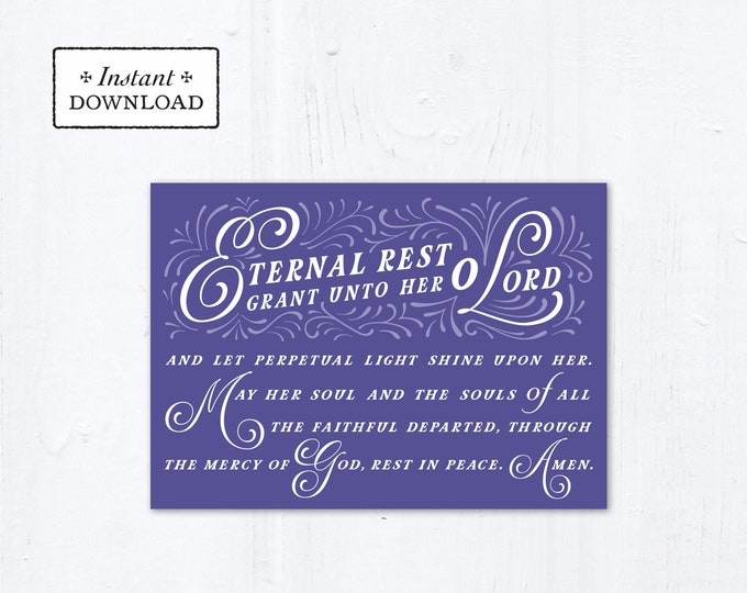 "Eternal Rest Grant HER Catholic Sympathy Card Purple 5x7 Instant Download - DIY Downloadable PDF 5"" x 7"" A7 Catholic Greeting Card"