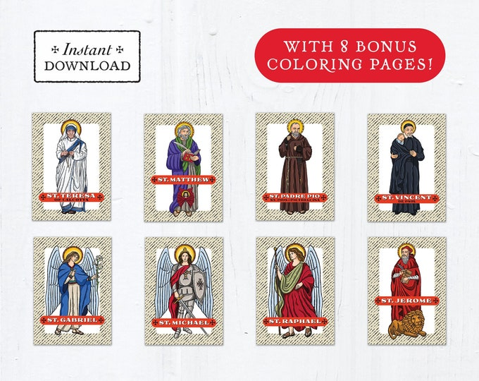 Catholic Saint Trading Cards September Set #1 - Printable - PLUS Bonus Coloring Pages! DIY Downloadable PDF - 8.5x11 - 8 Total Saint Cards