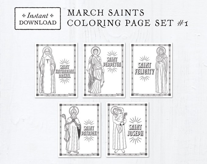 Catholic Coloring Pages - March Saints Set #1 - Bundle of 5 - Catholic Saints - Printable Coloring Pages - Digital - PDF Download