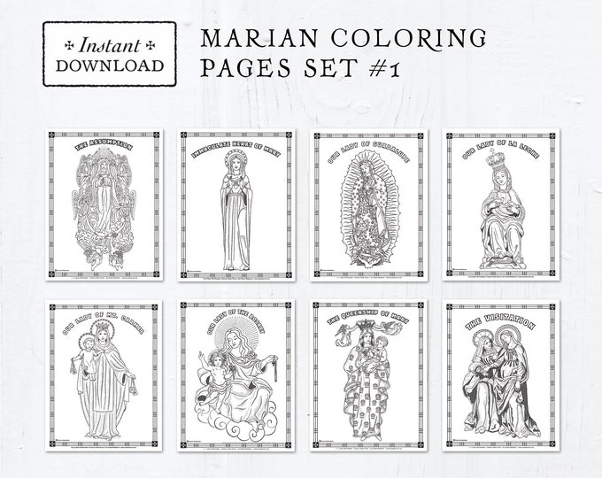 Catholic Coloring Pages - Marian Set #1 - Bundle of 8 - Catholic Saints - Printable Coloring Pages - Digital - PDF