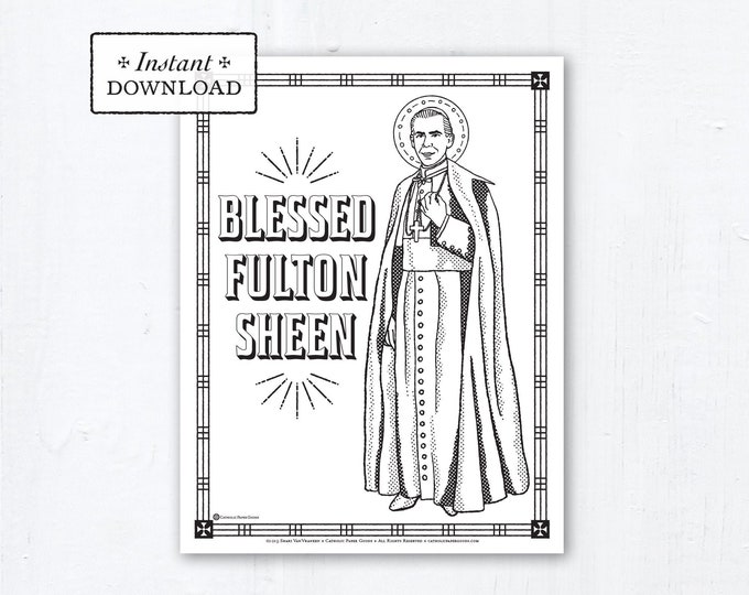 Catholic Coloring Page - Blessed Fulton Sheen - Catholic Saints - Printable Coloring Page - Digital - PDF