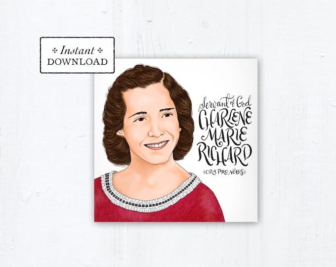 "Servant of God Charlene Marie Richard Square Prayer Card, Square, Instant Download, DIY Downloadable PDF 5.25""x5.25"" Prayer Card"