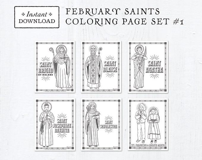 Catholic Coloring Pages - February Saints Set #1 - Bundle of 6 - Catholic Saints - Printable Coloring Pages - Digital - PDF Download