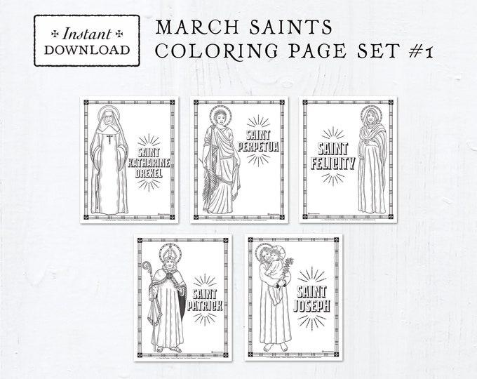 Catholic Coloring Pages - March Saints Set #1 - Bundle of 5 - Catholic Saints - Printable Coloring Pages - Digital - PDF Download