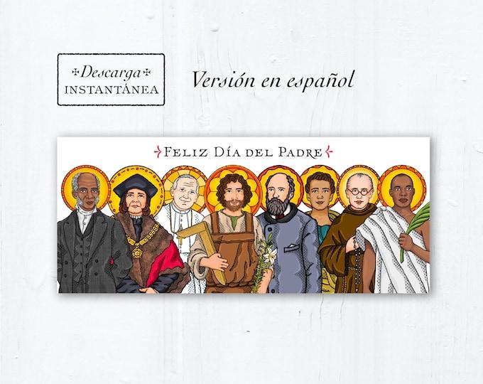 Catholic Saints Father's Day Card Spanish - descarga instantánea - PDF Feliz Día del Padre la tarjeta de felicitación católica en español