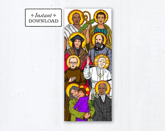 "Catholic Saints Father's Day Card Litany of Saints - Instant Download - Downloadable PDF 9.25"" x 3.875 - Catholic Printable Card Fathers Day"