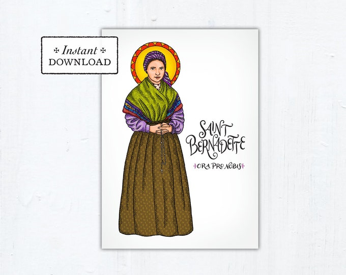 "St. Bernadette Card - Art Print - Instant Download - DIY Downloadable PDF 5""x7"""