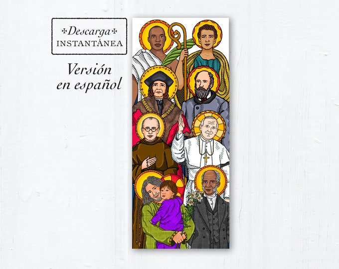 Catholic Father's Day Card - descarga instantánea - Letanía de los santos para los padres la tarjeta de felicitación católica en español
