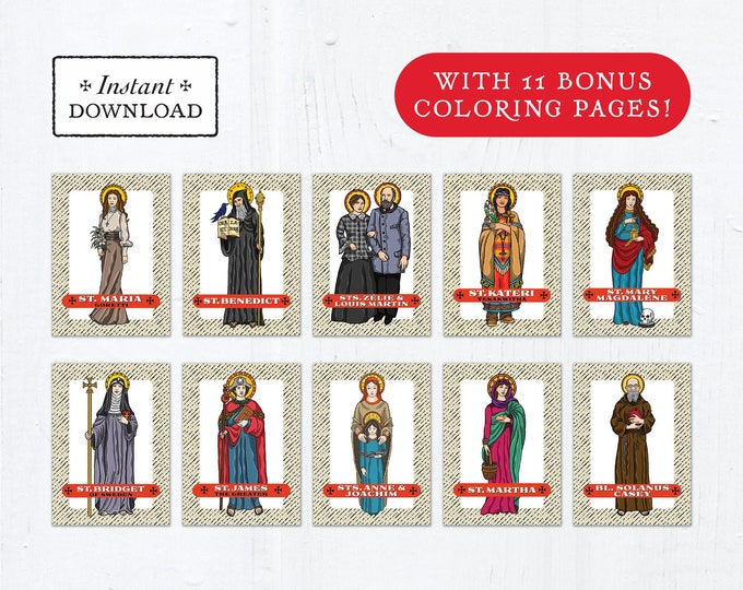 Catholic Saint Trading Cards July Set #1 - Printable - PLUS Bonus Coloring Pages! DIY Downloadable PDF - 8.5x11 - 10 Total Saint Cards