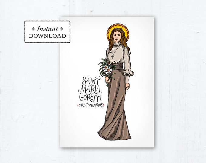 "Saint Maria Goretti Card - Art Print - Instant Download - DIY Downloadable PDF 5""x7"" - Saint Printable Saint Print Confirmation Gift Baptism"