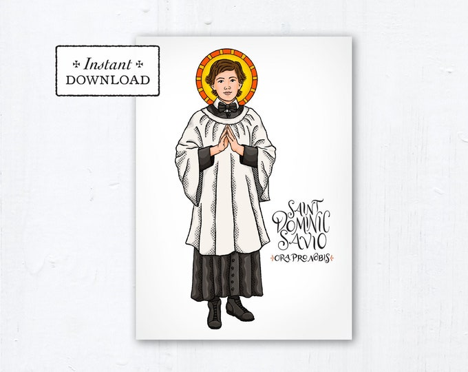 "St. Dominic Savio Card - Art Print - Instant Download - DIY Downloadable PDF 5""x7"" Catholic Saint Printable Saint Art Confirmation Gift"