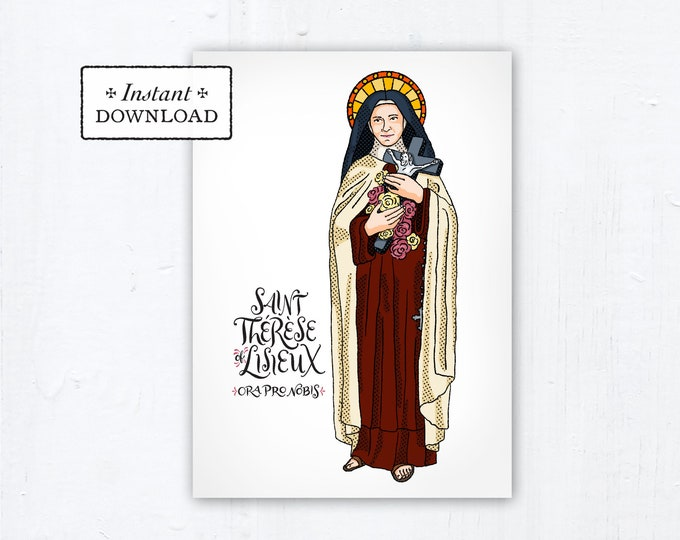 "Saint Thérèse of Lisieux Card - Art Print - Instant Download - DIY Downloadable PDF 5""x7"" Catholic Saint Printable Confirmation Gift Therese"