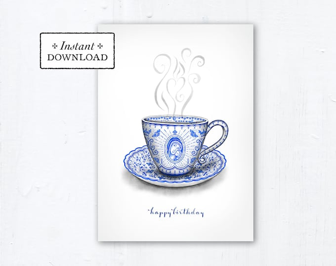 "Marian Teacup Birthday Card - Art Print - Instant Download - DIY Downloadable PDF 5""x7"" - Catholic Printable Birthday Card Catholic Birthday"