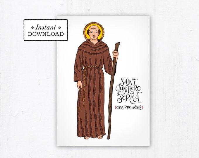 "St. Junipero Serra Card - Art Print - Instant Download - DIY Downloadable PDF 5""x7"" Catholic Saint Printable Saint Art Confirmation Gift"