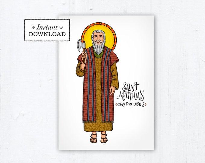 "St. Matthias the Apostle Card - Art Print - Instant Download - DIY Downloadable PDF 5""x7"""