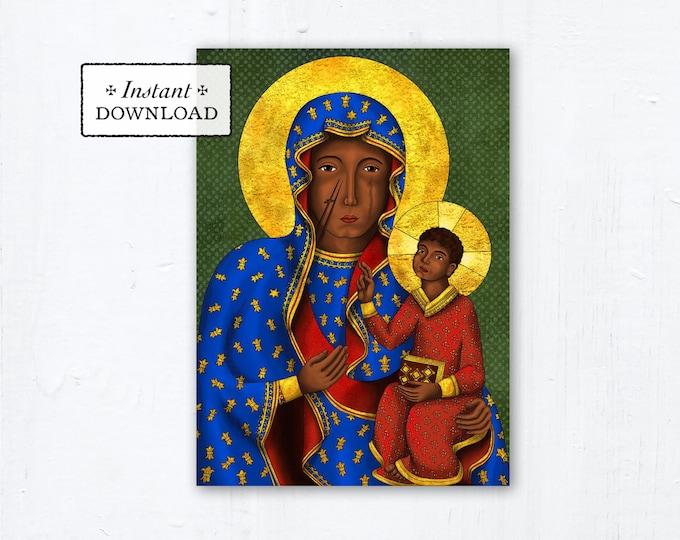 "Our Lady of Czestochowa Prayer Card - Art Print - Instant Download - DIY Downloadable PDF 5""x7"" Catholic Printable Marian Prayer Card"
