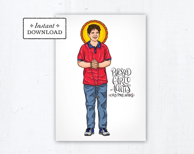 "Blessed Carlo Acutis Card - Art Print - Instant Download - DIY Downloadable PDF 5""x7"" Catholic Saint Printable Confirmation Gift"