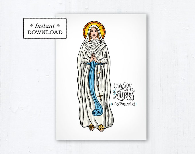 "Our Lady of Lourdes Card - Art Print - Instant Download - DIY Downloadable PDF 5""x7"" - Saint Card Saint Art Print Confirmation Gift"