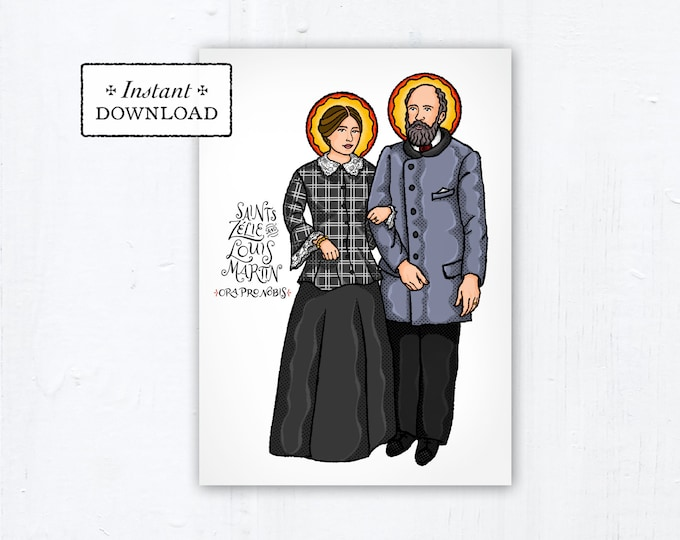 "Saints Zélie and Louis Martin Card - Art Print - Instant Download - DIY Downloadable PDF 5""x7"" Catholic Saint Printable Confirmation Gift"