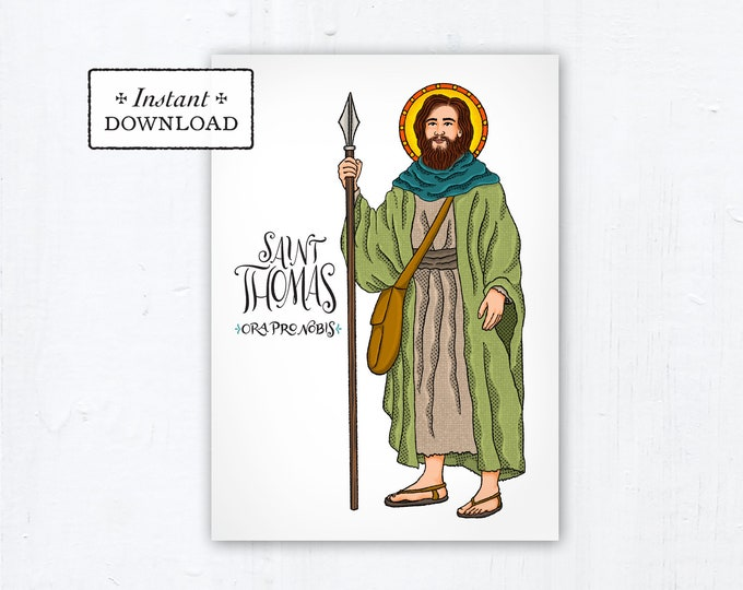 "St. Thomas the Apostle Card - Art Print - Instant Download - DIY Downloadable PDF 5""x7"" Catholic Saint Printable Saint Art Confirmation Gift"
