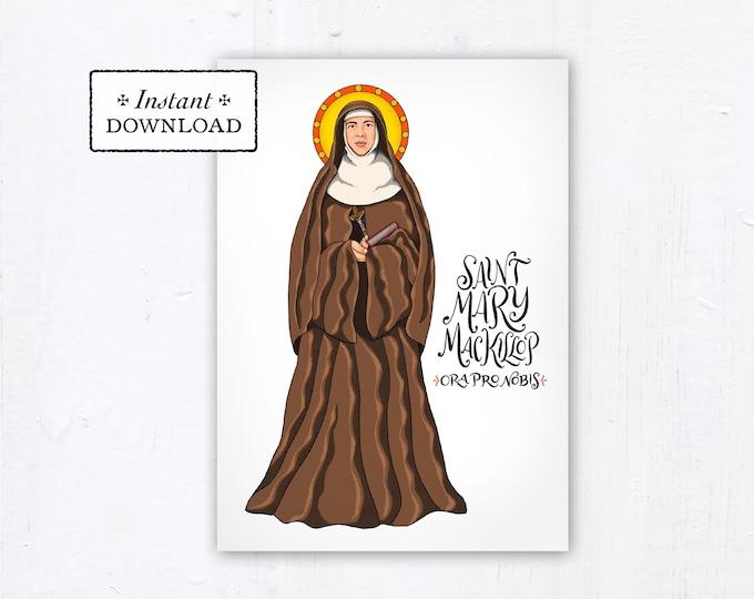 "St. Mary MacKillop Prayer Card, Art Print, Instant Download, DIY Downloadable PDF 5""x7"" Printable Saint Confirmation Gift"