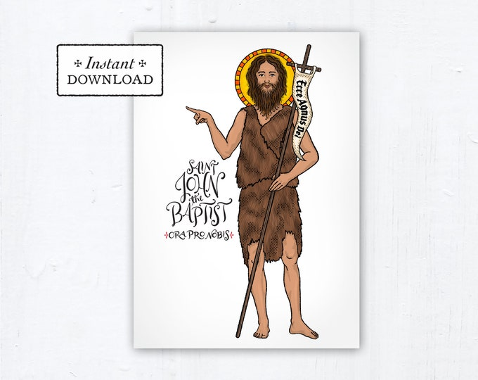 "St. John the Baptist Card - Art Print - Instant Download - DIY Downloadable PDF 5""x7"" Catholic Saint Printable Saint Art Confirmation Gift"