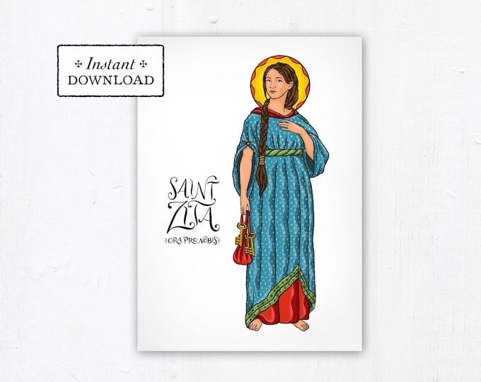 "St. Zita of Lucca Card - Art Print - Instant Download - DIY Downloadable PDF 5""x7"""