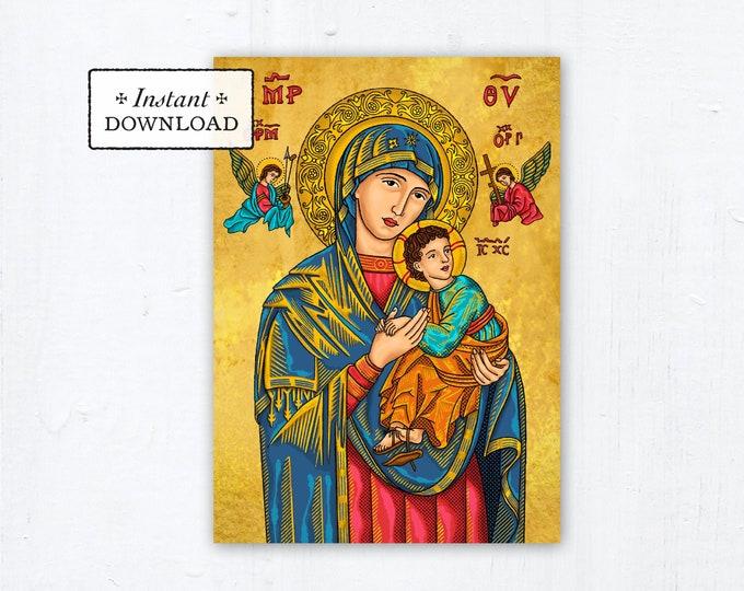 "Our Lady of Perpetual Help Prayer Card - Art Print - Instant Download - DIY Downloadable PDF 5""x7"" Catholic Printable Marian Prayer Card"