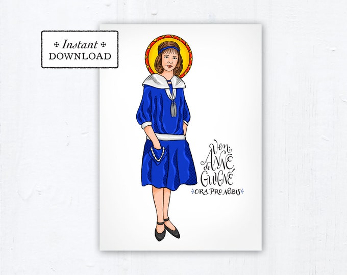 "Venerable Anne de Guigné Card - Art Print - Instant Download - DIY Downloadable PDF 5""x7"" Catholic Saint Printable Confirmation Gift"