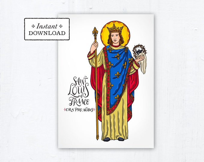 "Saint Louis of France Card - Art Print - Instant Download - DIY Downloadable PDF 5""x7"" Catholic Saint Printable Confirmation Gift"