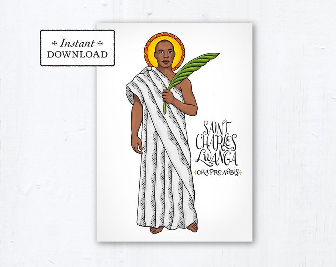 "St. Charles Lwanga Card - Art Print - Instant Download - DIY Downloadable PDF 5""x7"" Catholic Saint Printable Saint Art Confirmation Gift"