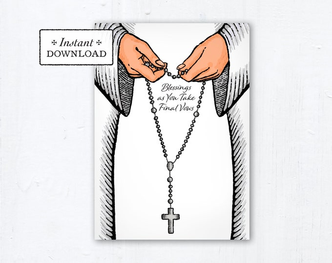 "Nun Final Vows Card Praying Rosary White Habit - Instant Download - DIY Downloadable PDF 5""x7"" Catholic Sister Printable Card Final Vows"