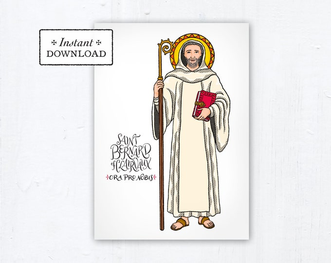 "Saint Bernard of Clairvaux Card - Art Print - Instant Download - DIY Downloadable PDF 5""x7"" Catholic Saint Printable Confirmation Gift"