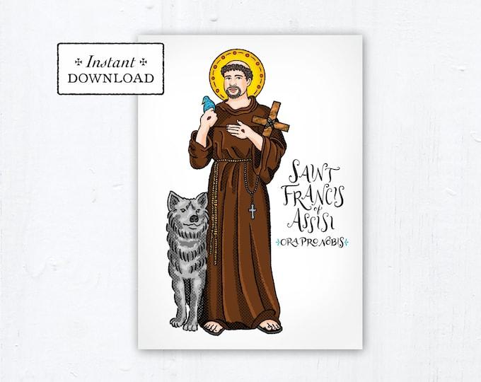 "Saint Francis of Assisi Card - Art Print - Instant Download - DIY Downloadable PDF 5""x7"" Catholic Printable St. Francis Prayer Card"
